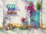 Cottage wth Bicycle - Watercolour