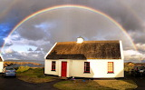 Rainbow, sky, clouds, cottage