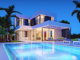 White luxury modern villa and pool at night
