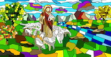 Christian-tainted glass-Jesus-sheep-abstract