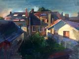 Village Rooftops by Simeon Nijenhuis - oil wooarts