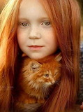 red girl and the cat