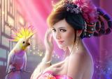 Fantasy art girl with bird