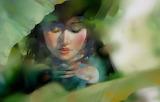 Greens, leaves, art, drawn girl, face