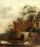 River Scene with figures by Salomon van Rambou