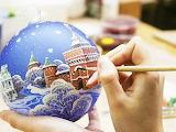 Painting of Christmas balls