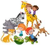 Kids and wild animals