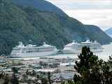 View of ships from mountain Skagway, AK