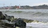 Waves near lighthouse