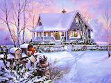 Rural Christmas Farm House