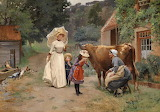 Visiting the Farm by Emile Charles Dameron...