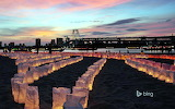 Candles line the beach for Marine Day in Tokyo, Japan