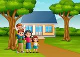 Cartoon-family-front-house-yard 43633-6497