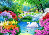 Pond with swan and flowers