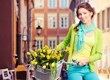 Girl, flowers, bike, basket, house, scarf, tulips, beauty, pigta