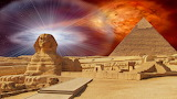 The Great Sphinx of Giza with the pyramid