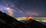 volcano with stars