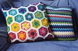 crocheted African pillow