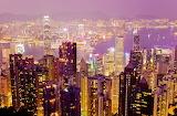 Hong Kong skyline light at night.