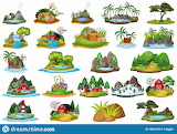 Large-group-isolated-objects-theme-landscapes-illustration