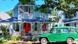 Cottage, porch, balcony, flag, green car