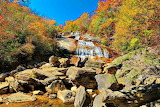 Autumn Waterfall & Colorful Rocks Balsam Grove N Carolina USA