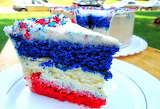 ^ Red white and blue cheesecake cake