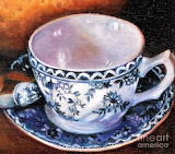 #Blue And White Teacup With Spoon Painting by Marlene Book