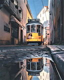 Tram just after rain old town quarters Lisbon