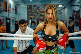Girl, coach, man, woman, boxer, boxing gloves, Dmitry Filatov