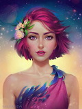 Pink hair and blue feathers by Selenada