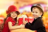 Children, vintage, gift, boy, girl, hat, smile, kids