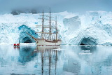 Sailing ship, Europa, in Antartica