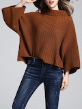 Yiyiqi Solid Knitted Simple Stand Collar Sweater