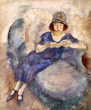 Jules Pascin, Girl in Blue Dress on Sofa, Reading, ca 1922