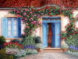 ^ House with flowers