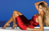 Girl, woman, denise richards, dress, red, blonde