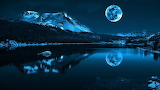 #Full Moon Mountains Painting