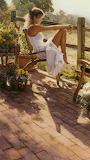 Lady painting by Steve Hanks