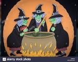 Sorcières d'Halloween chaudron magique