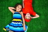 children on the grass