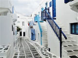 Homes on narrow alley Mykonos Greece sng