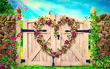 flower heart on wooden gate