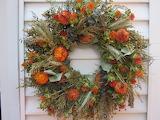 ^ Fall dried flower wreath