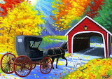Carriage-horse-dog-covered-bridge-painting