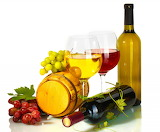 ^ Barrel of wine, red and white grapes