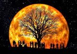 Halloween Gathering Under a Full Moon