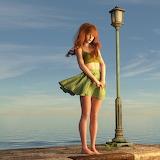 Redhead by ocean