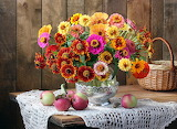 Bouquets Tablecloth Apples Autumn Still-life