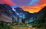 Sunset over Swiss alps